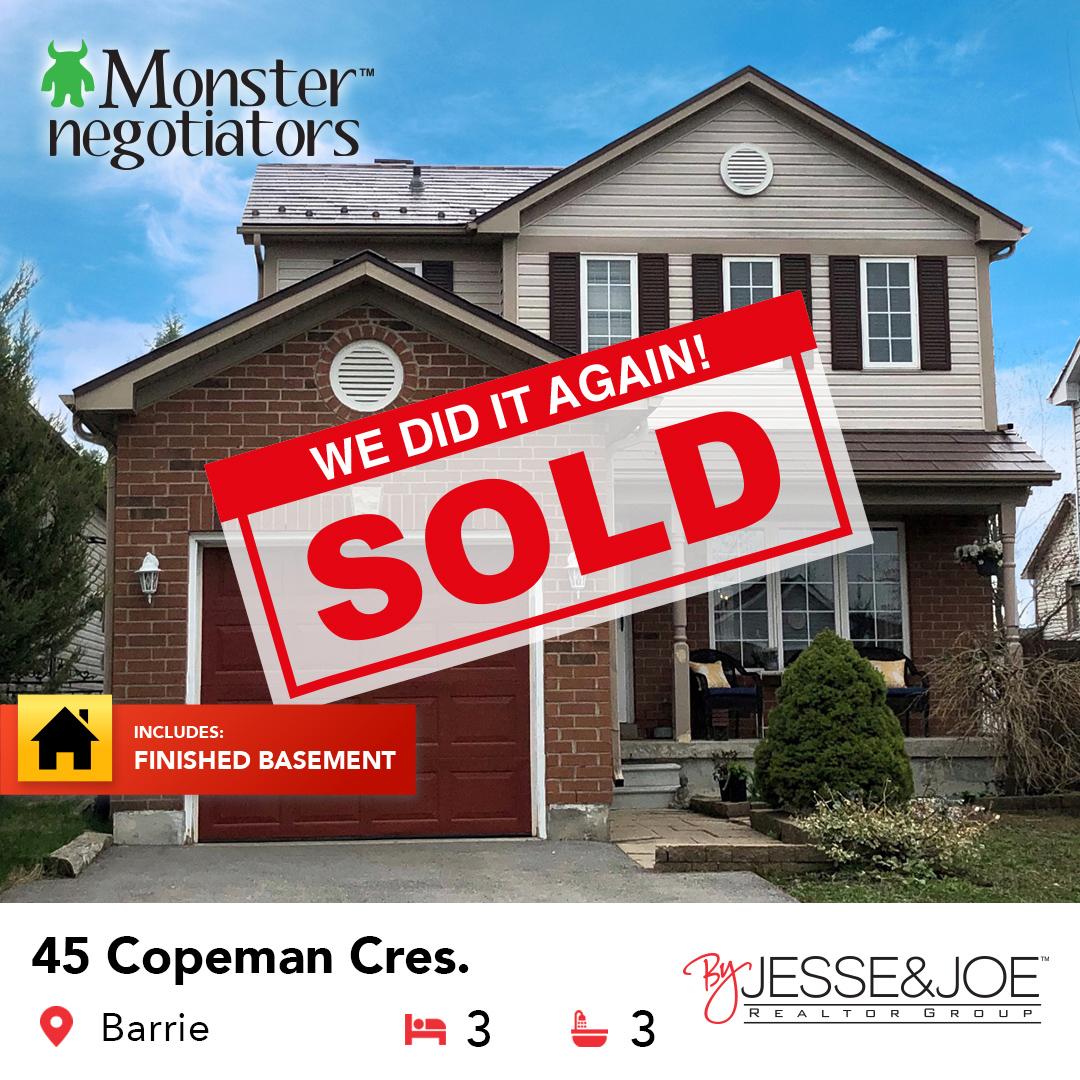 45 Copeman Cres Barrie Sold!